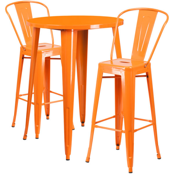 Lowest Price 30'' Round Orange Metal Indoor-Outdoor Bar Table Set with 2 Cafe Stools