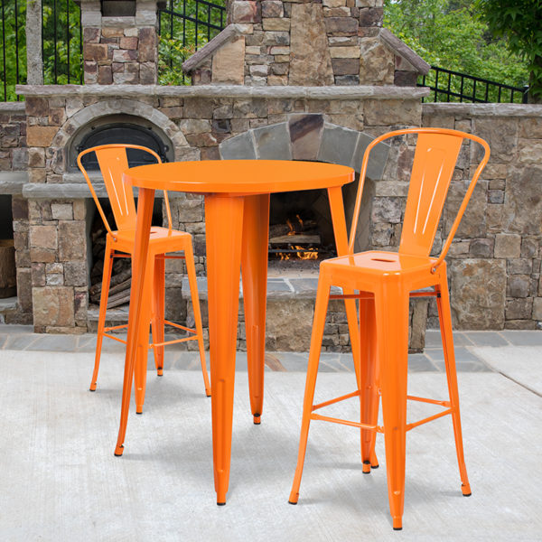 Wholesale 30'' Round Orange Metal Indoor-Outdoor Bar Table Set with 2 Cafe Stools