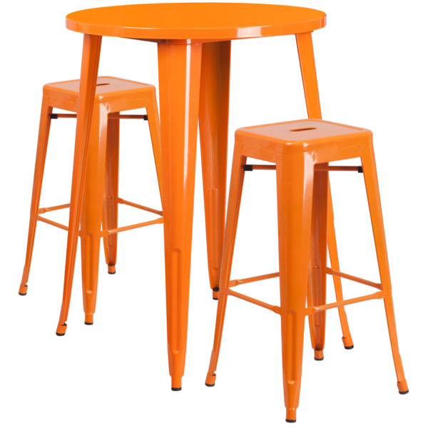 Lowest Price 30'' Round Orange Metal Indoor-Outdoor Bar Table Set with 2 Square Seat Backless Stools