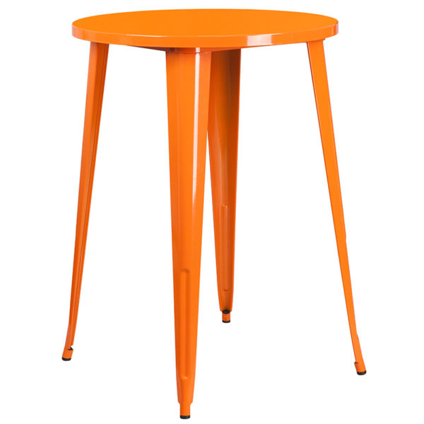 Bar Height Table and Stool Set 30RD Orange Metal Bar Set