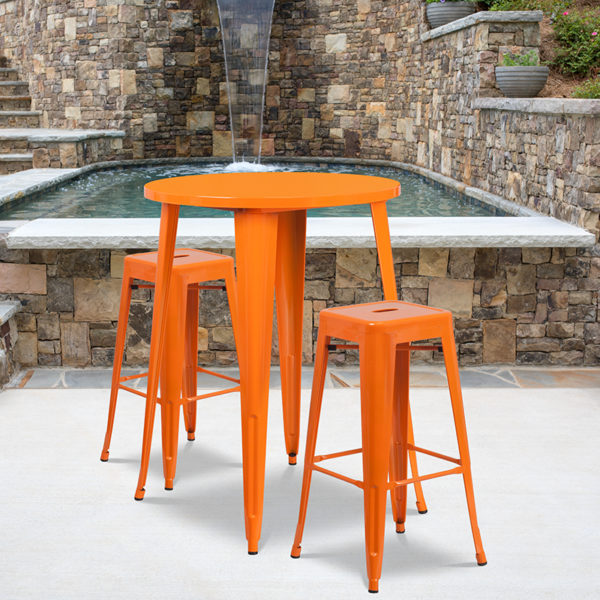 Wholesale 30'' Round Orange Metal Indoor-Outdoor Bar Table Set with 2 Square Seat Backless Stools
