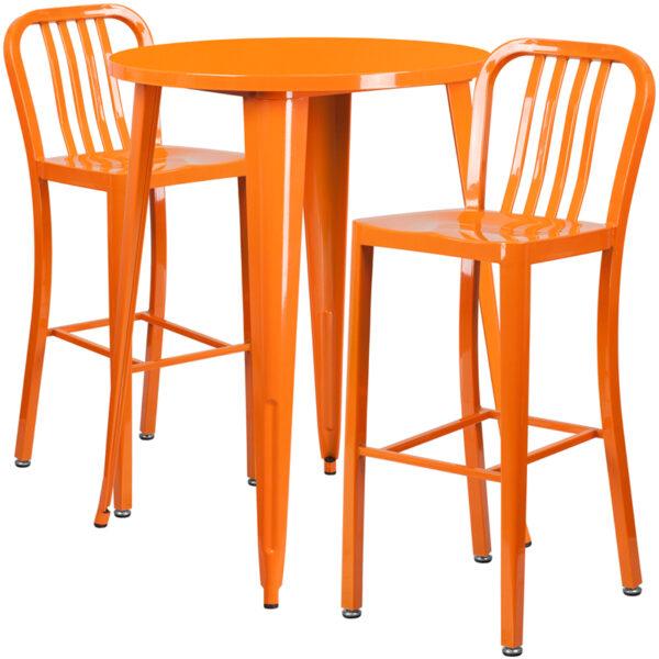 Lowest Price 30'' Round Orange Metal Indoor-Outdoor Bar Table Set with 2 Vertical Slat Back Stools