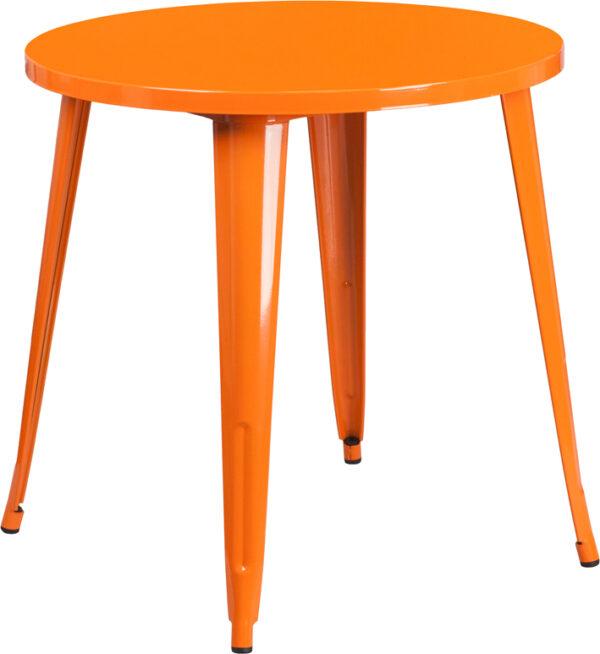 Wholesale 30'' Round Orange Metal Indoor-Outdoor Table