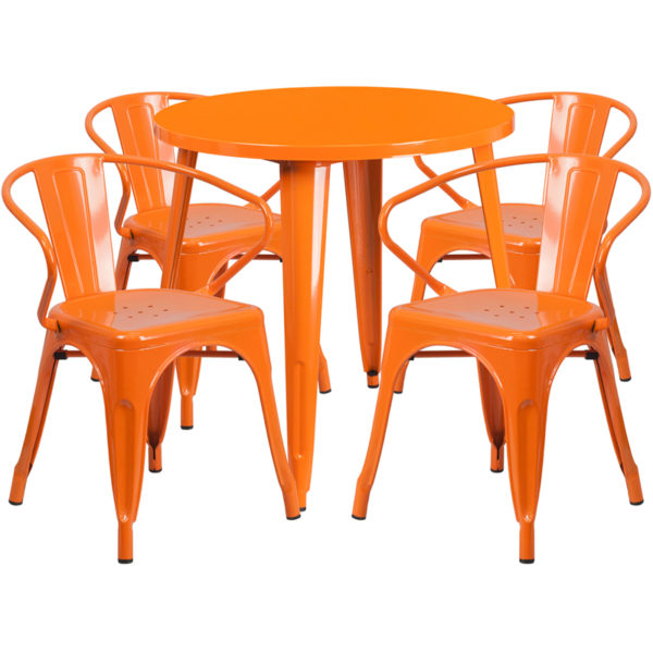 Wholesale 30'' Round Orange Metal Indoor-Outdoor Table Set with 4 Arm Chairs