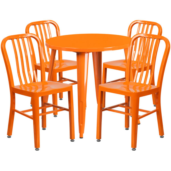 Wholesale 30'' Round Orange Metal Indoor-Outdoor Table Set with 4 Vertical Slat Back Chairs