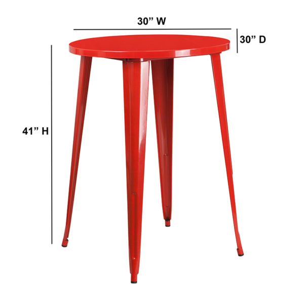 Lowest Price 30'' Round Red Metal Indoor-Outdoor Bar Height Table