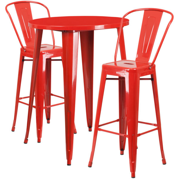 Lowest Price 30'' Round Red Metal Indoor-Outdoor Bar Table Set with 2 Cafe Stools