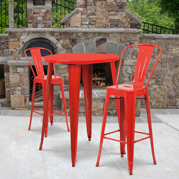 Wholesale 30'' Round Red Metal Indoor-Outdoor Bar Table Set with 2 Cafe Stools