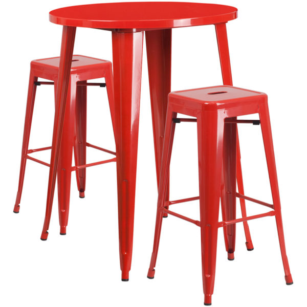 Lowest Price 30'' Round Red Metal Indoor-Outdoor Bar Table Set with 2 Square Seat Backless Stools