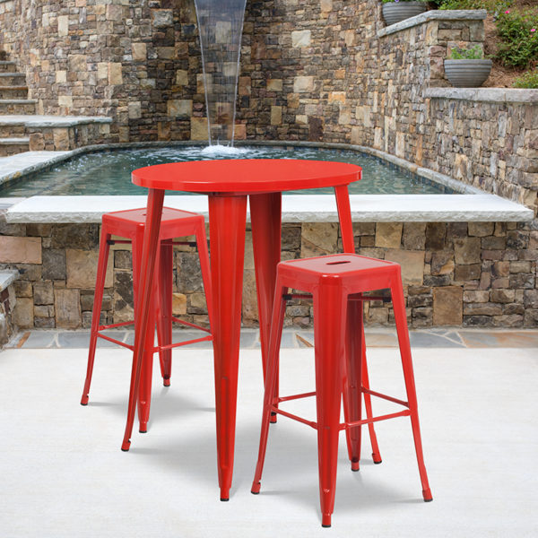 Wholesale 30'' Round Red Metal Indoor-Outdoor Bar Table Set with 2 Square Seat Backless Stools