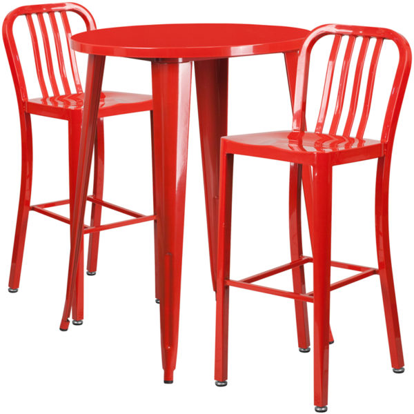 Lowest Price 30'' Round Red Metal Indoor-Outdoor Bar Table Set with 2 Vertical Slat Back Stools