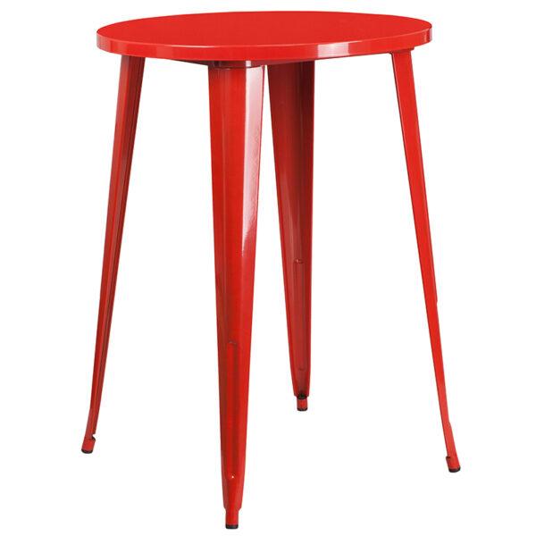 Bar Height Table and Stool Set 30RD Red Metal Bar Set