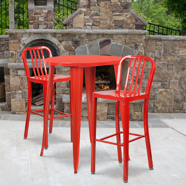 Wholesale 30'' Round Red Metal Indoor-Outdoor Bar Table Set with 2 Vertical Slat Back Stools