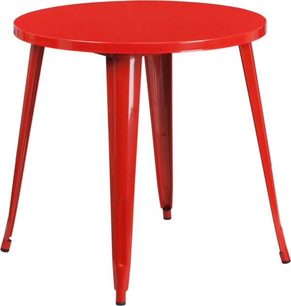 Wholesale 30'' Round Red Metal Indoor-Outdoor Table