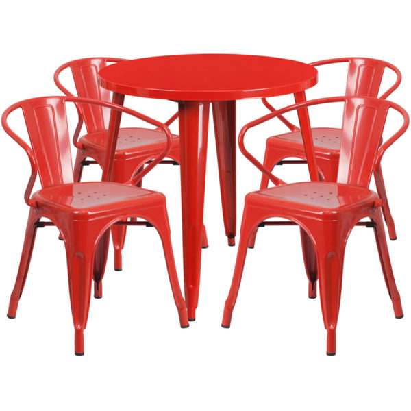 Wholesale 30'' Round Red Metal Indoor-Outdoor Table Set with 4 Arm Chairs
