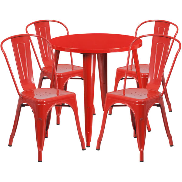 Wholesale 30'' Round Red Metal Indoor-Outdoor Table Set with 4 Cafe Chairs