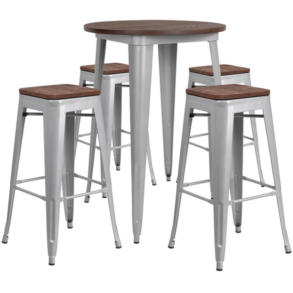 """Wholesale 30"""" Round Silver Metal Bar Table Set with Wood Top and 4 Backless Stools"""