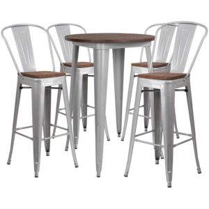 "Wholesale 30"" Round Silver Metal Bar Table Set with Wood Top and 4 Stools"