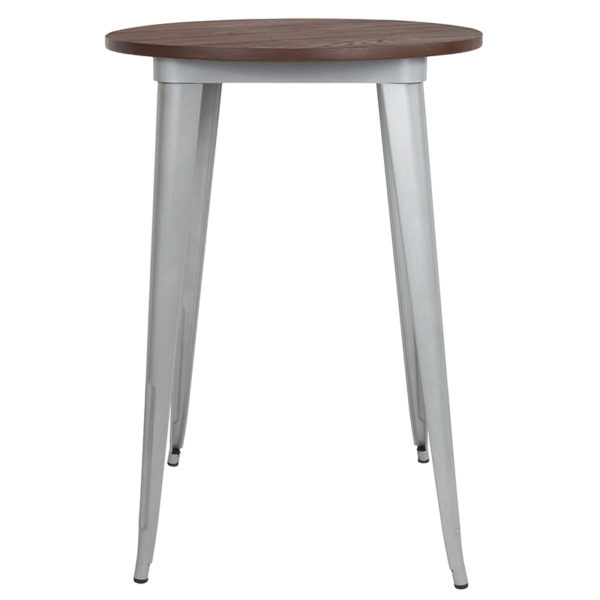 """Lowest Price 30"""" Round Silver Metal Indoor Bar Height Table with Walnut Rustic Wood Top"""