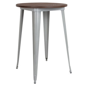 "Wholesale 30"" Round Silver Metal Indoor Bar Height Table with Walnut Rustic Wood Top"