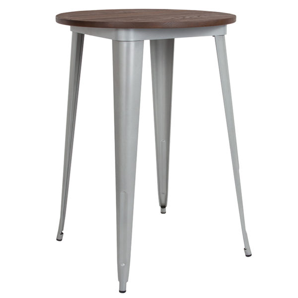 """Wholesale 30"""" Round Silver Metal Indoor Bar Height Table with Walnut Rustic Wood Top"""