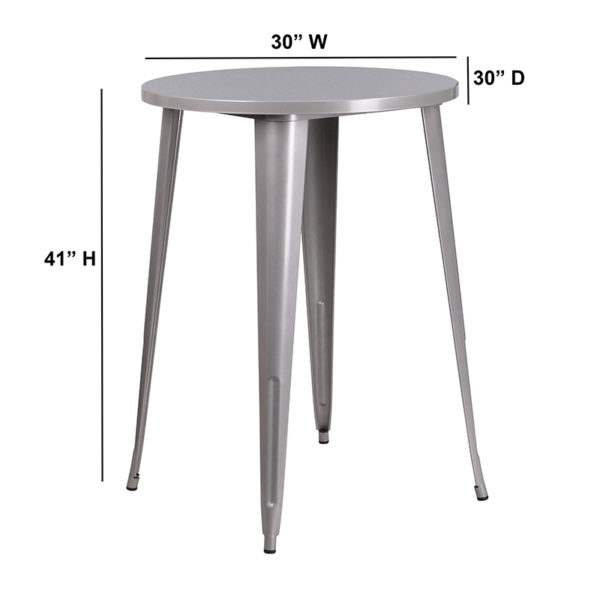 Lowest Price 30'' Round Silver Metal Indoor-Outdoor Bar Height Table