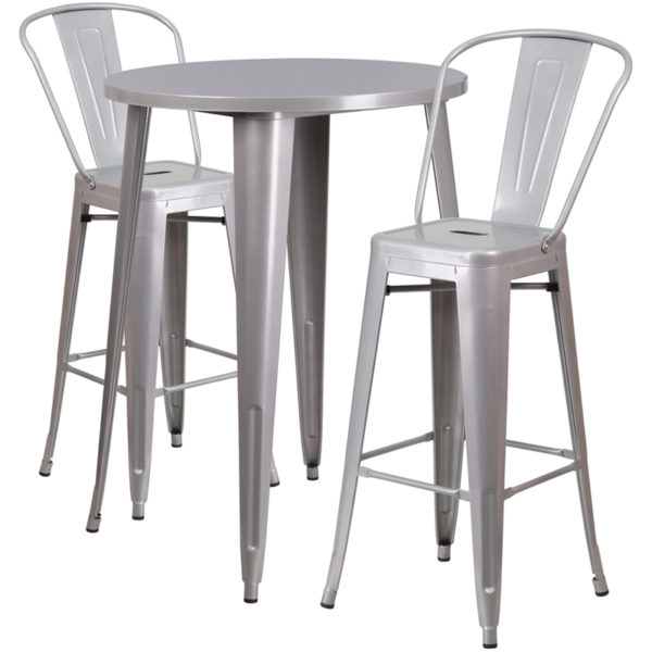 Lowest Price 30'' Round Silver Metal Indoor-Outdoor Bar Table Set with 2 Cafe Stools