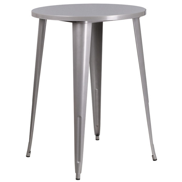 Bar Height Table and Stool Set 30RD Silver Metal Bar Set