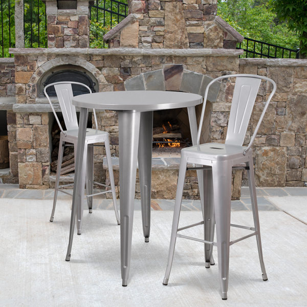 Wholesale 30'' Round Silver Metal Indoor-Outdoor Bar Table Set with 2 Cafe Stools