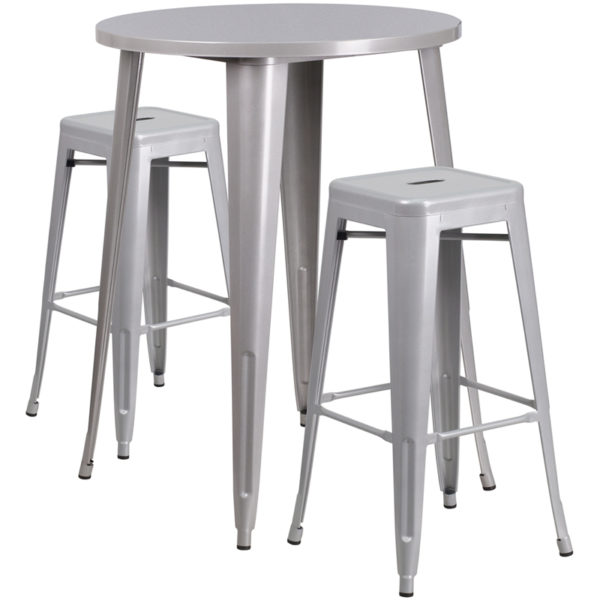 Lowest Price 30'' Round Silver Metal Indoor-Outdoor Bar Table Set with 2 Square Seat Backless Stools