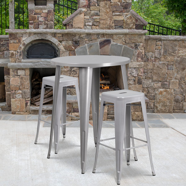 Wholesale 30'' Round Silver Metal Indoor-Outdoor Bar Table Set with 2 Square Seat Backless Stools