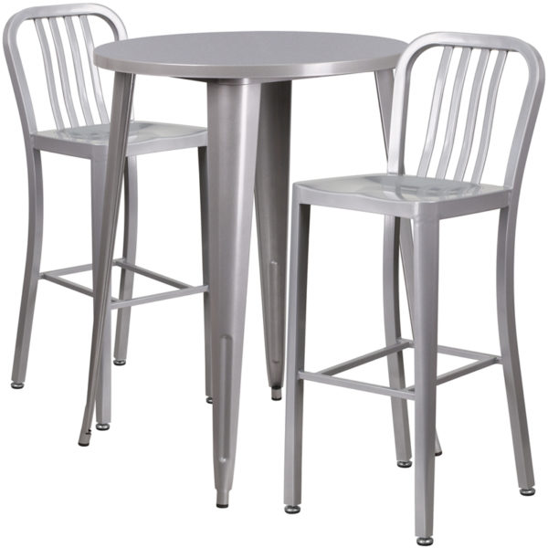 Lowest Price 30'' Round Silver Metal Indoor-Outdoor Bar Table Set with 2 Vertical Slat Back Stools
