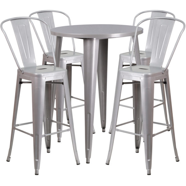 Lowest Price 30'' Round Silver Metal Indoor-Outdoor Bar Table Set with 4 Cafe Stools