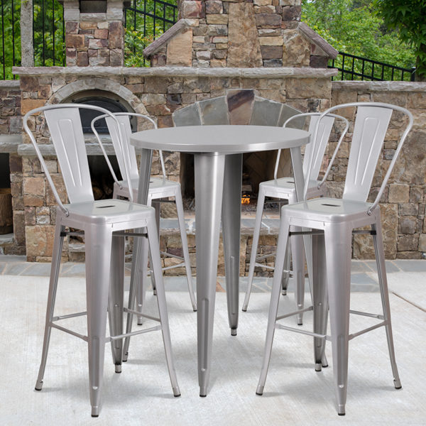Wholesale 30'' Round Silver Metal Indoor-Outdoor Bar Table Set with 4 Cafe Stools