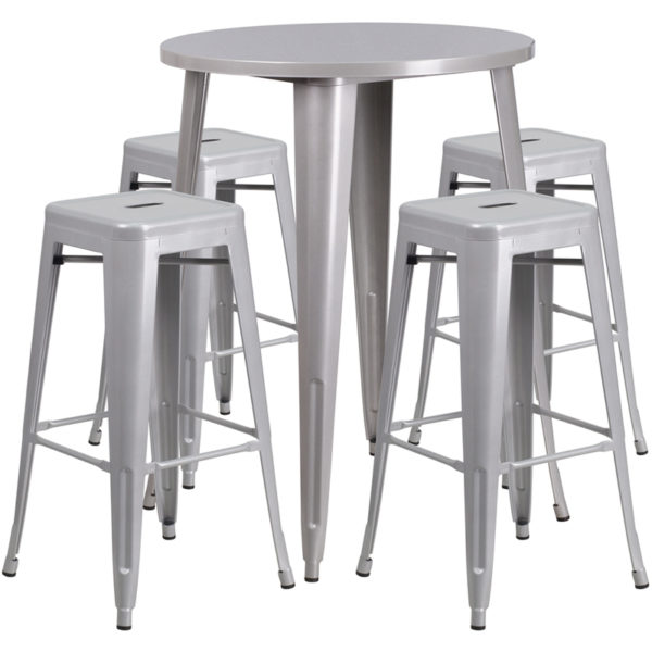 Lowest Price 30'' Round Silver Metal Indoor-Outdoor Bar Table Set with 4 Square Seat Backless Stools