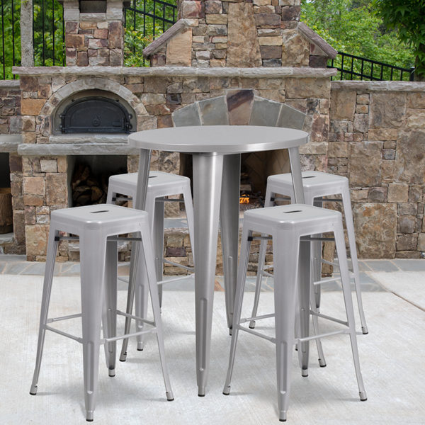 Wholesale 30'' Round Silver Metal Indoor-Outdoor Bar Table Set with 4 Square Seat Backless Stools