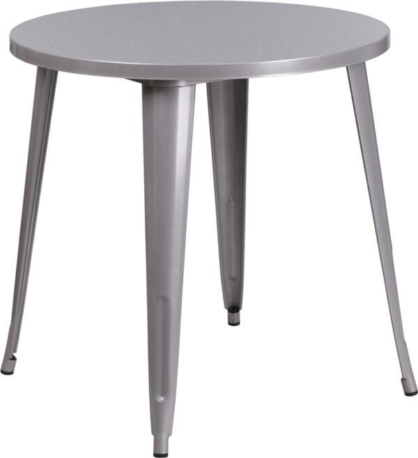 Wholesale 30'' Round Silver Metal Indoor-Outdoor Table