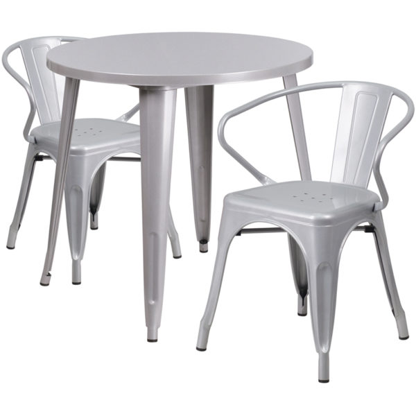 Wholesale 30'' Round Silver Metal Indoor-Outdoor Table Set with 2 Arm Chairs