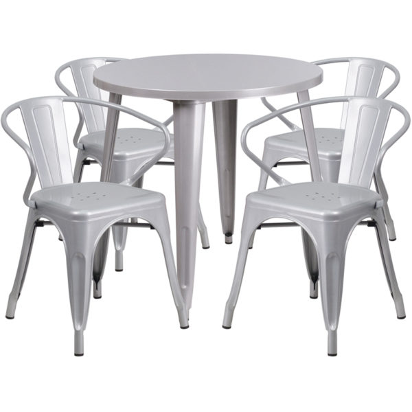 Wholesale 30'' Round Silver Metal Indoor-Outdoor Table Set with 4 Arm Chairs