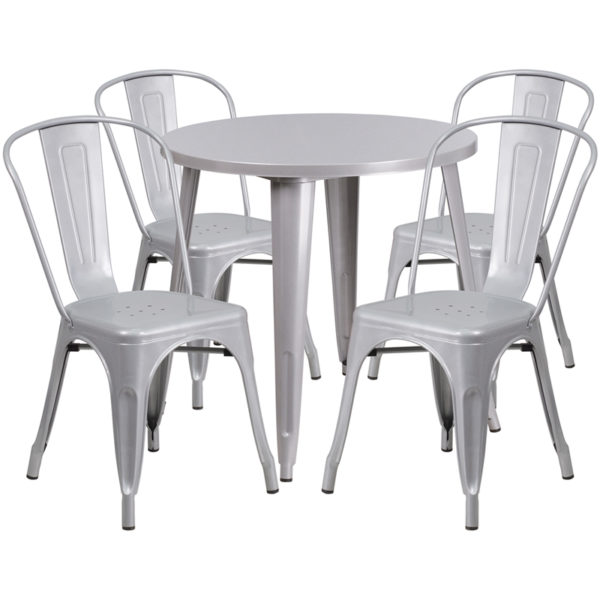 Wholesale 30'' Round Silver Metal Indoor-Outdoor Table Set with 4 Cafe Chairs
