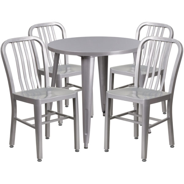 Wholesale 30'' Round Silver Metal Indoor-Outdoor Table Set with 4 Vertical Slat Back Chairs