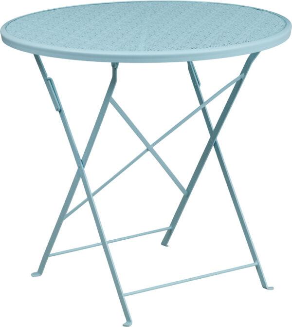 Wholesale 30'' Round Sky Blue Indoor-Outdoor Steel Folding Patio Table