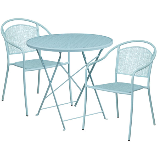 Wholesale 30'' Round Sky Blue Indoor-Outdoor Steel Folding Patio Table Set with 2 Round Back Chairs