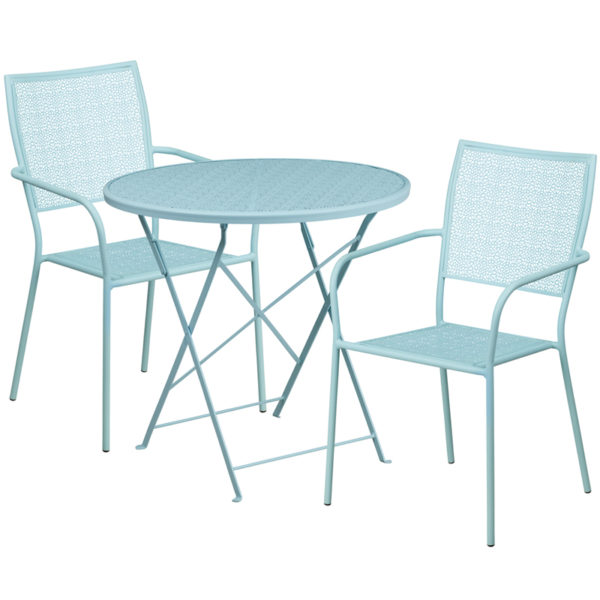 Wholesale 30'' Round Sky Blue Indoor-Outdoor Steel Folding Patio Table Set with 2 Square Back Chairs