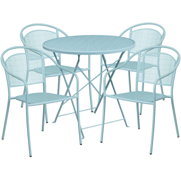 Wholesale 30'' Round Sky Blue Indoor-Outdoor Steel Folding Patio Table Set with 4 Round Back Chairs