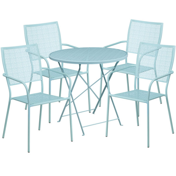 Wholesale 30'' Round Sky Blue Indoor-Outdoor Steel Folding Patio Table Set with 4 Square Back Chairs