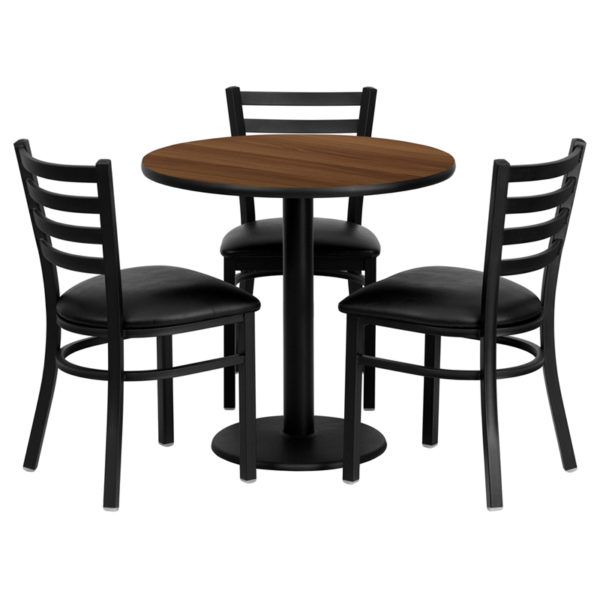 Lowest Price 30'' Round Walnut Laminate Table Set with 3 Ladder Back Metal Chairs - Black Vinyl Seat