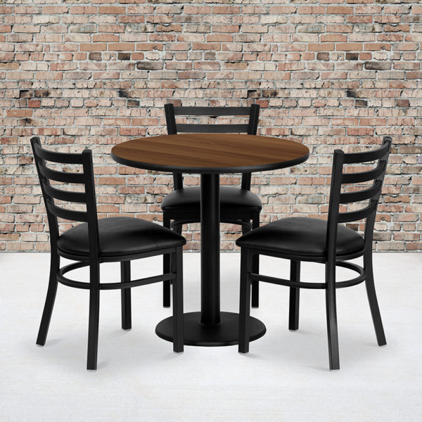 Wholesale 30'' Round Walnut Laminate Table Set with 3 Ladder Back Metal Chairs - Black Vinyl Seat