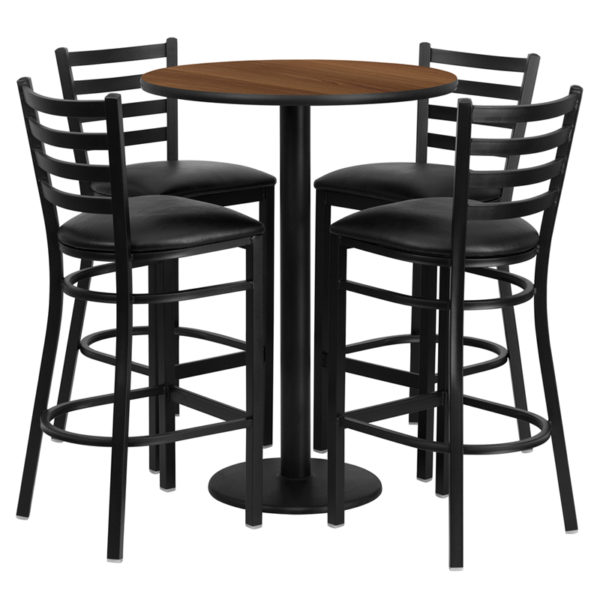 Lowest Price 30'' Round Walnut Laminate Table Set with Round Base and 4 Ladder Back Metal Barstools - Black Vinyl Seat