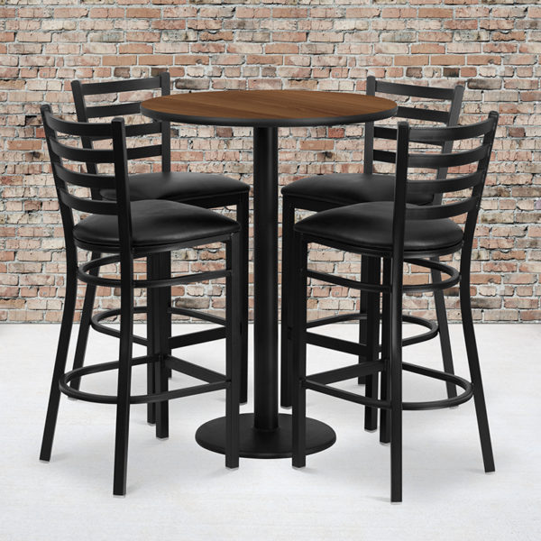 Wholesale 30'' Round Walnut Laminate Table Set with Round Base and 4 Ladder Back Metal Barstools - Black Vinyl Seat